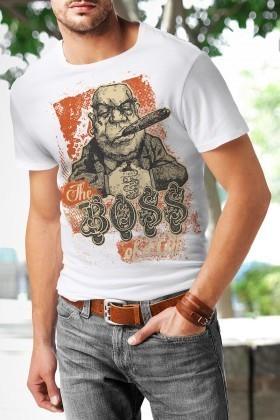 Benekli Fil Beyaz BF-E059 The Boss Baskılı Tişört