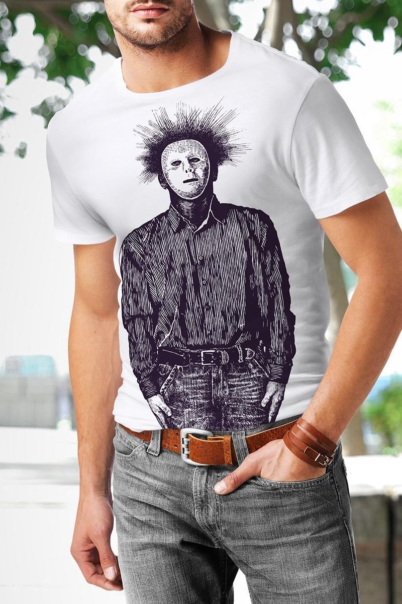 Benekli Fil Beyaz BF-E019 Erkek Tişört