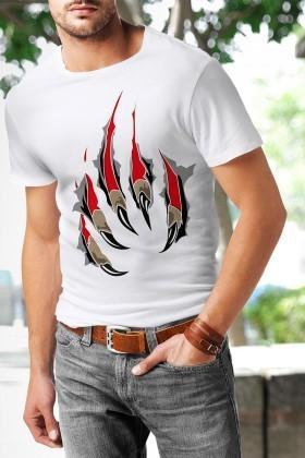 Benekli Fil Beyaz BF-E036 Paw Baskılı Tişört