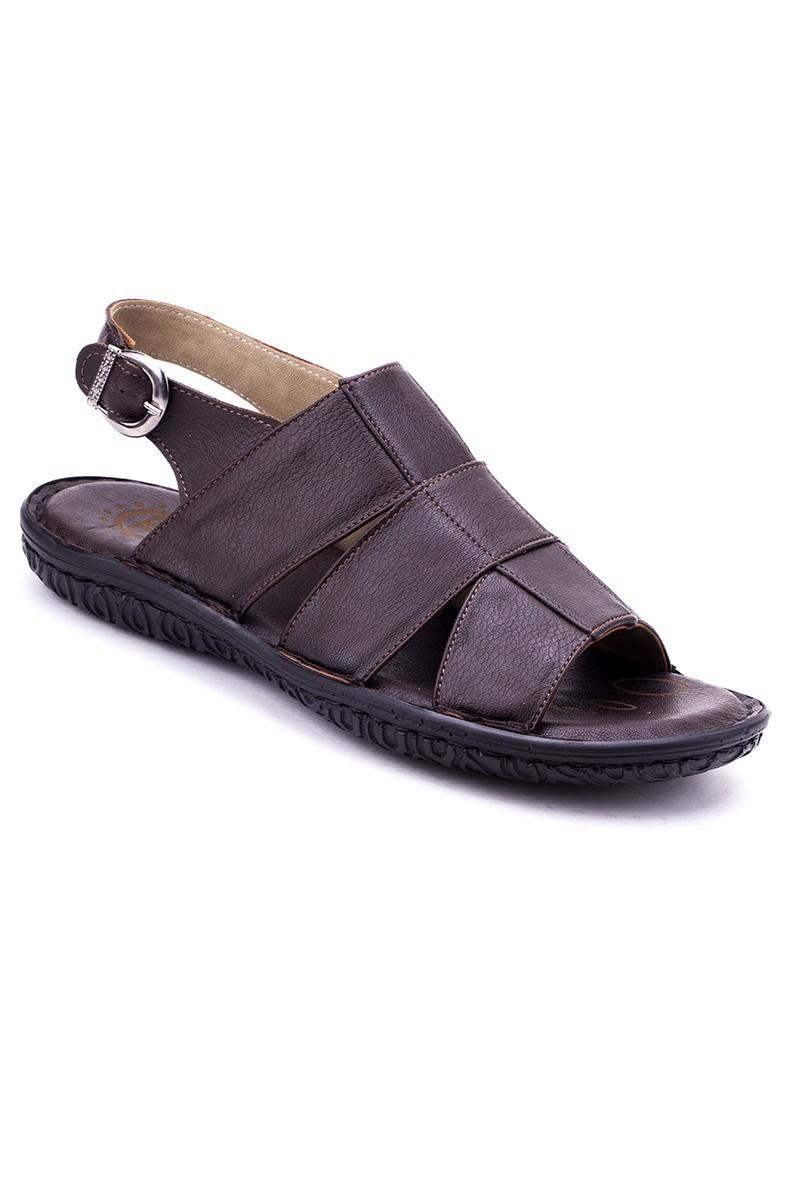 Cotaro Kahverengi CTR-900 Hakiki Deri Erkek Sandalet