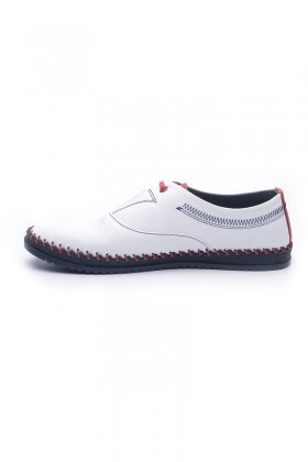 Pandew Beyaz-Kırmızı-Lacivert PNDW-5015 Hakiki Deri Erkek Çarık