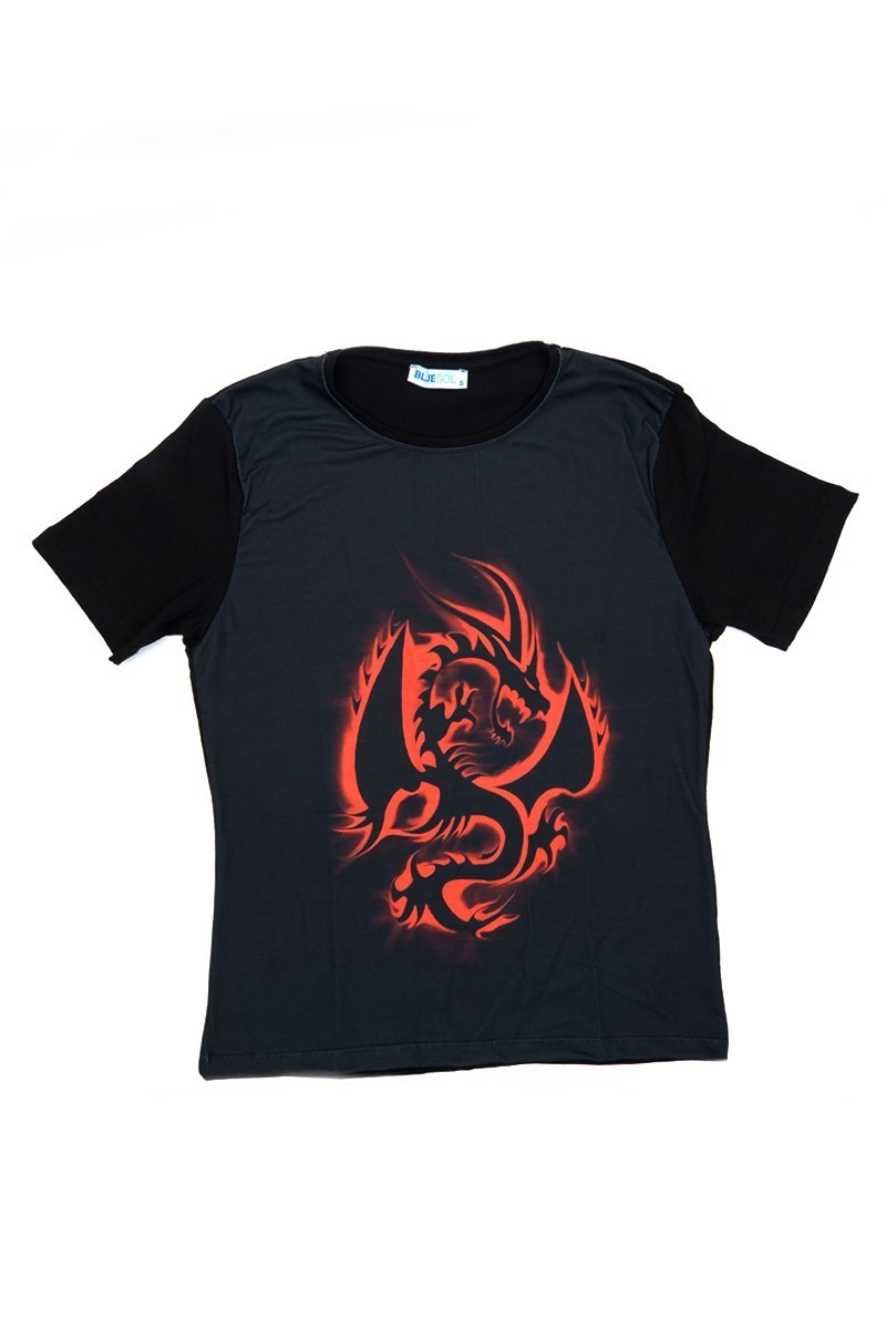 BLUESOIL Siyah BS-08-29 3D Erkek Tişört