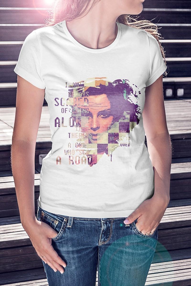 Benekli Fil Beyaz BF-B003 Bayan Tişört
