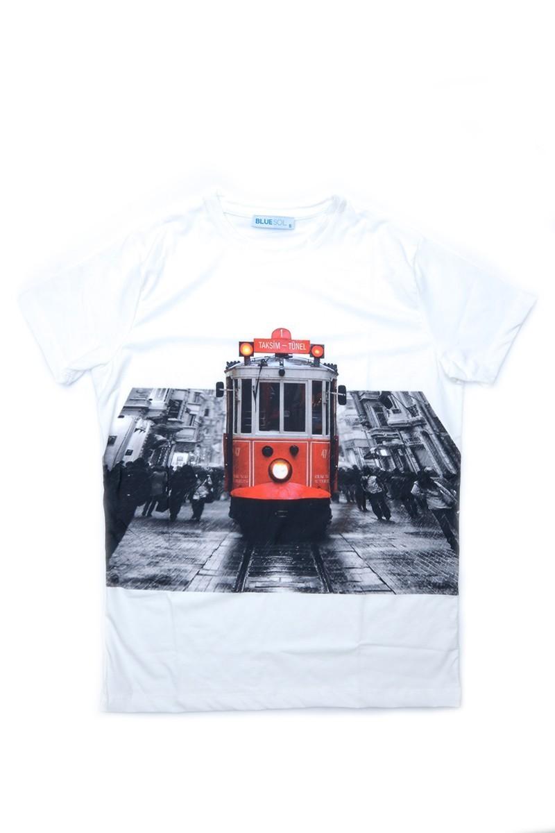 BLUESOIL Beyaz BS-08-33 3D Erkek Tişört