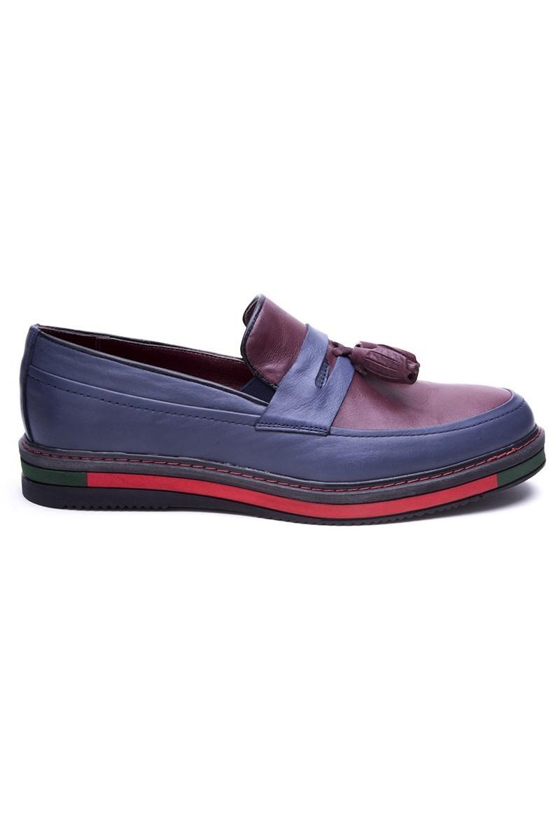 BLUESOIL Lacivert-Bordo BS-20-24 Hakiki Deri Erkek Ayakkabı