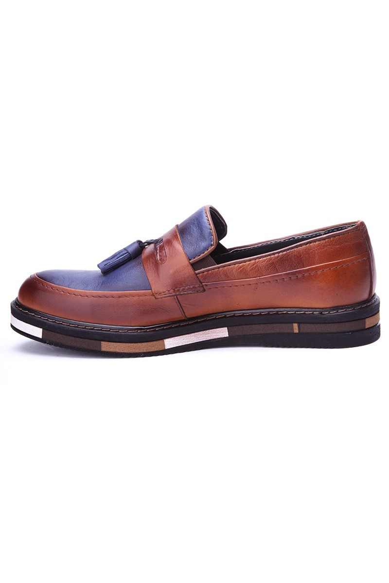 BLUESOIL Taba-Lacivert BS-20-24 Hakiki Deri Erkek Ayakkabı