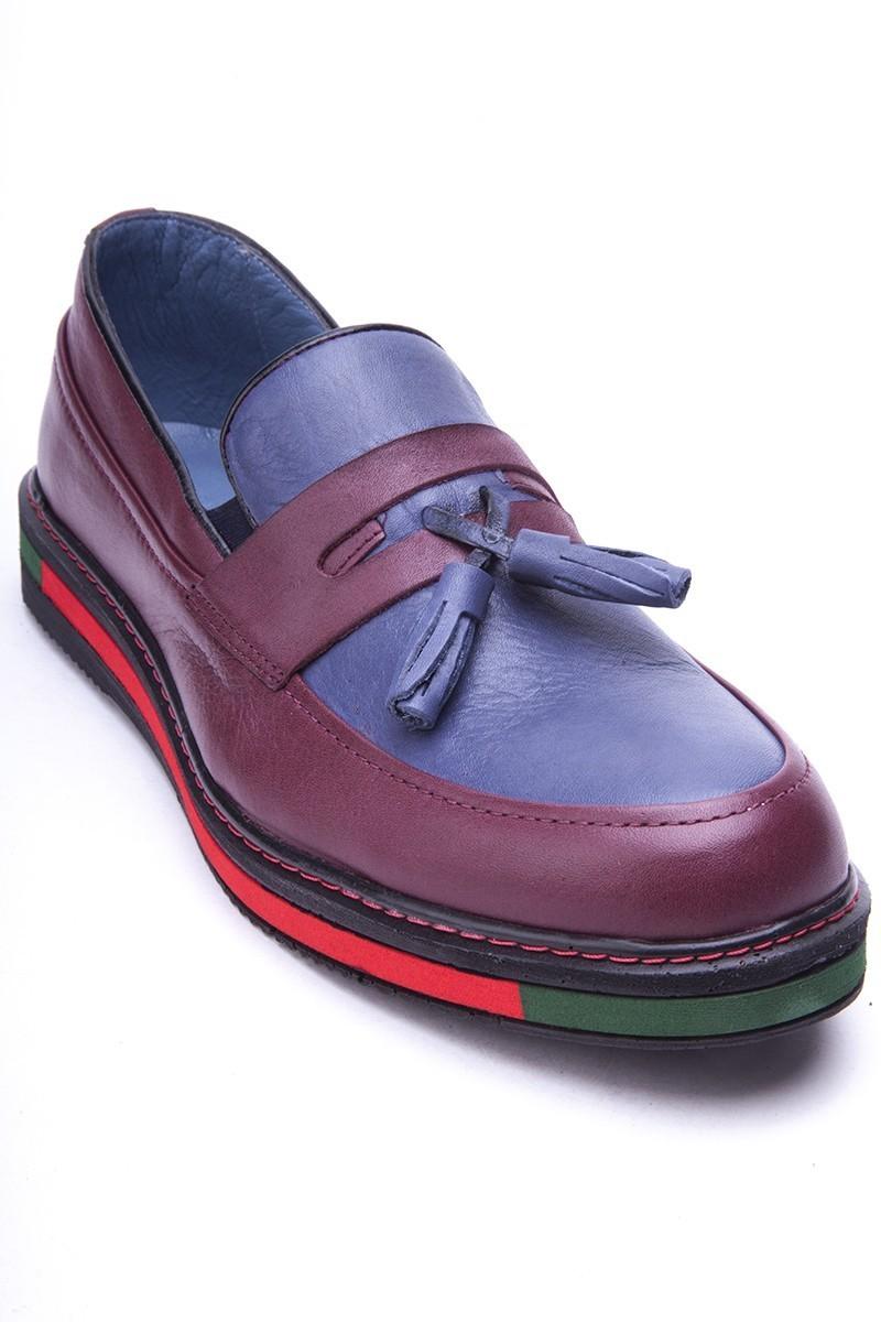 BLUESOIL Bordo-Lacivert BS-20-24 Hakiki Deri Erkek Ayakkabı