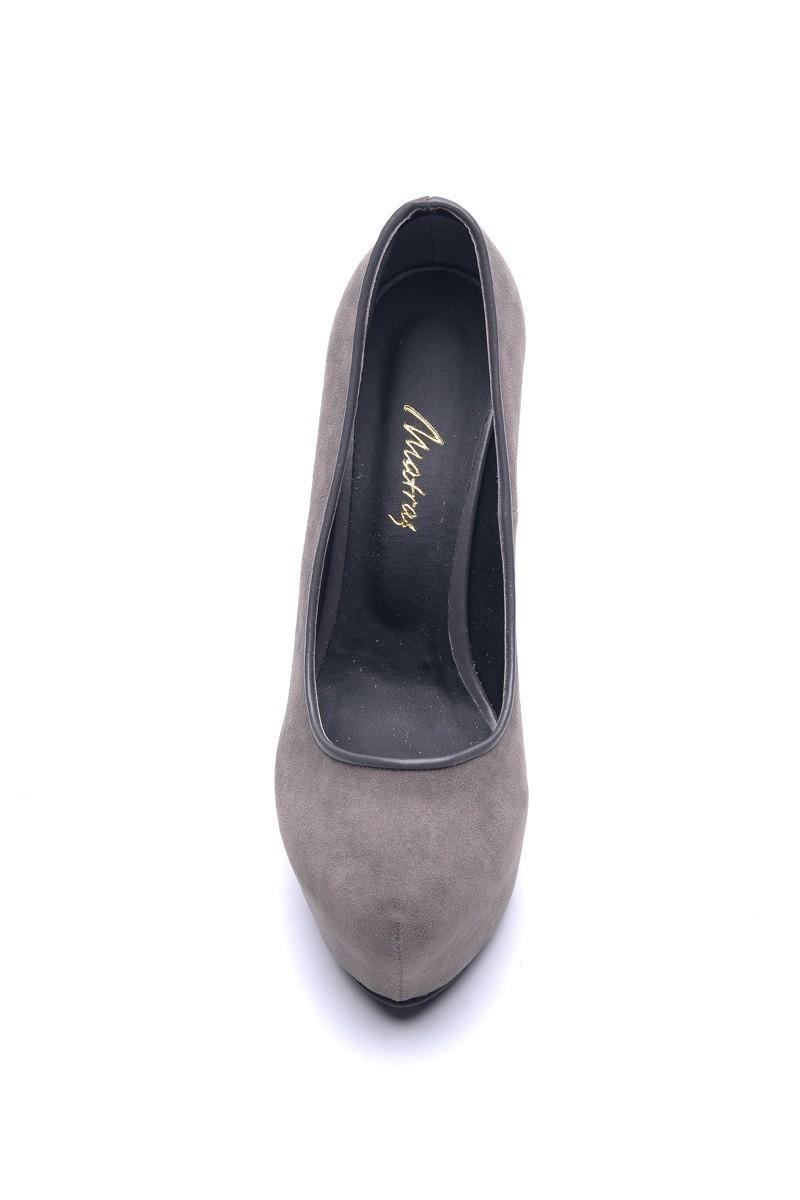 Matraş Antrasit MT-1819 Deri Platform Topuk Bayan Ayakkabı