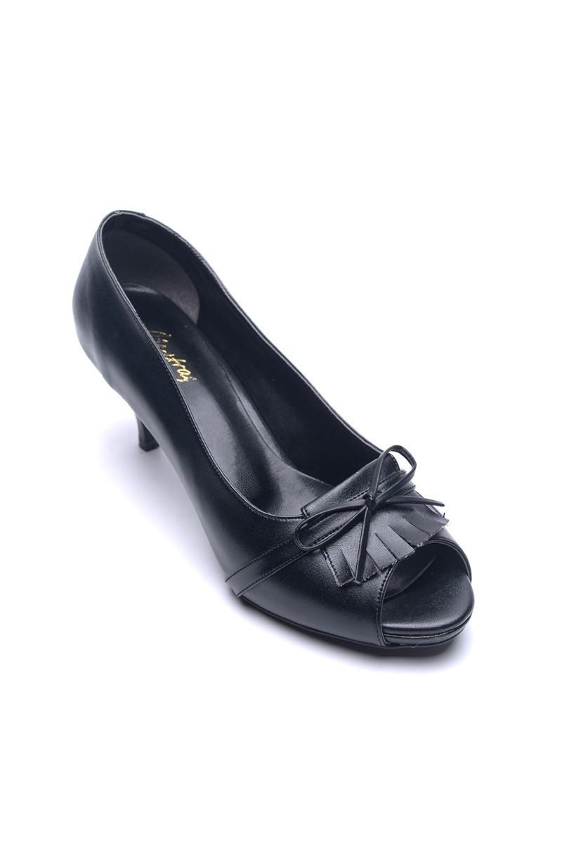 Matraş Siyah MT-1816-S Klasik Topuk Bayan Ayakkabı