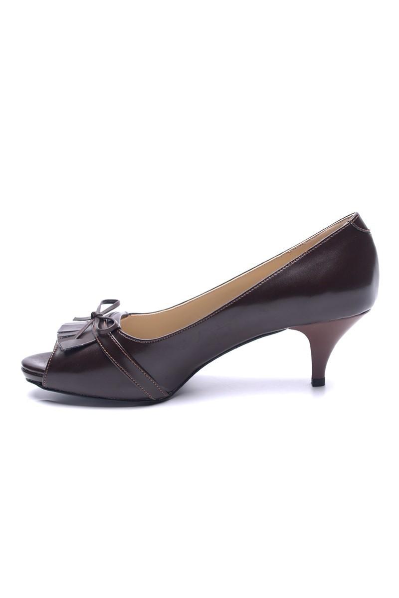 Matraş Kahverengi MT-1816 Klasik Topuk Bayan Ayakkabı