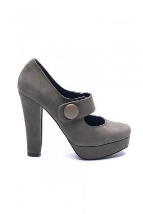 Matraş Gri MT-1810-G Deri Platform Topuk Bayan Ayakkabı