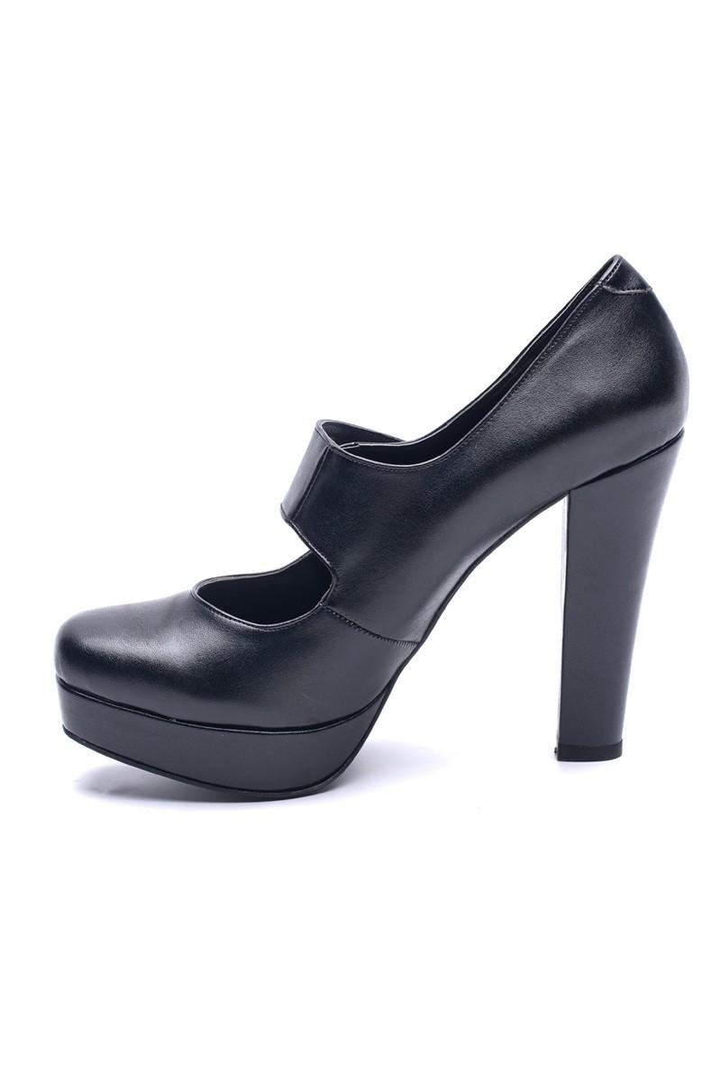 Matraş Siyah MT-1810 Deri Platform Topuk Bayan Ayakkabı