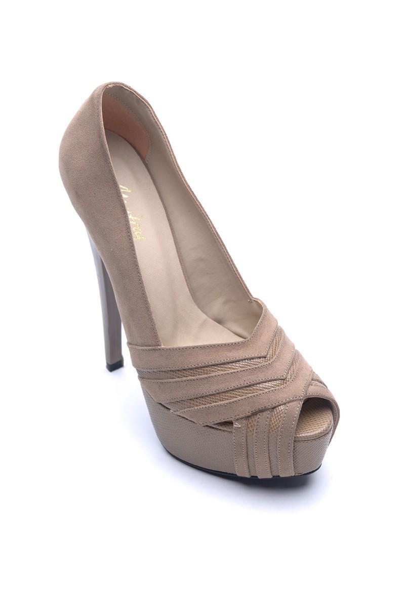 Matraş Vizon MT-1804-V Deri Platform Topuk Bayan Ayakkabı
