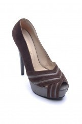 Deri Platform Topuk Bayan Ayakkabı