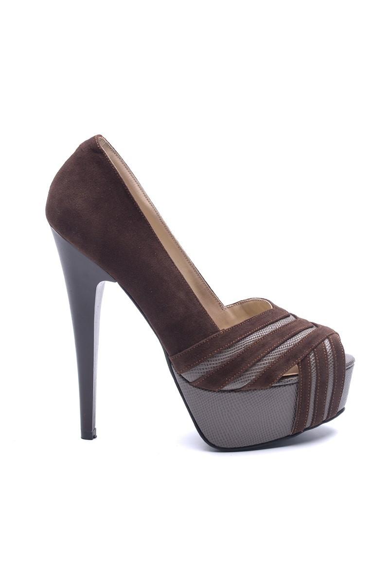 Matraş Kahverengi MT-1804-K Deri Platform Topuk Bayan Ayakkabı