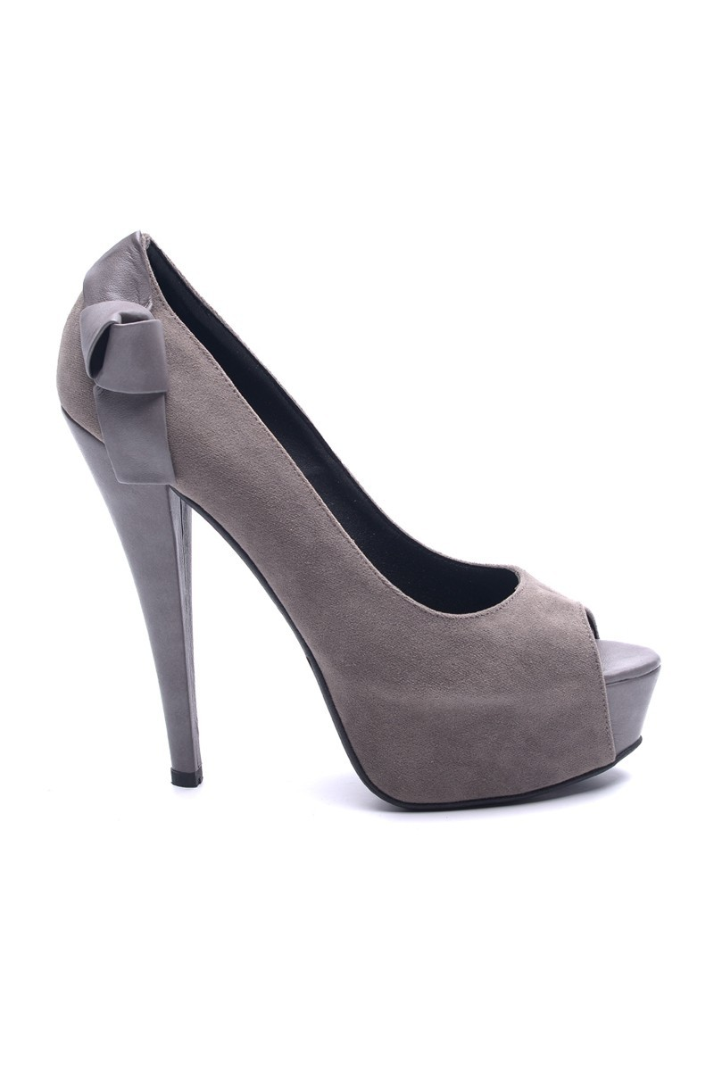 Matraş Antrasit MT-1803-A Deri Platform Topuk Bayan Ayakkabı
