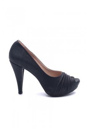 Matraş Siyah MT-1796-S Deri Platform Topuk Bayan Ayakkabı