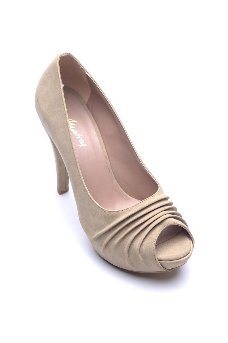 Matraş Bej MT-1796-B Deri Platform Topuk Bayan Ayakkabı