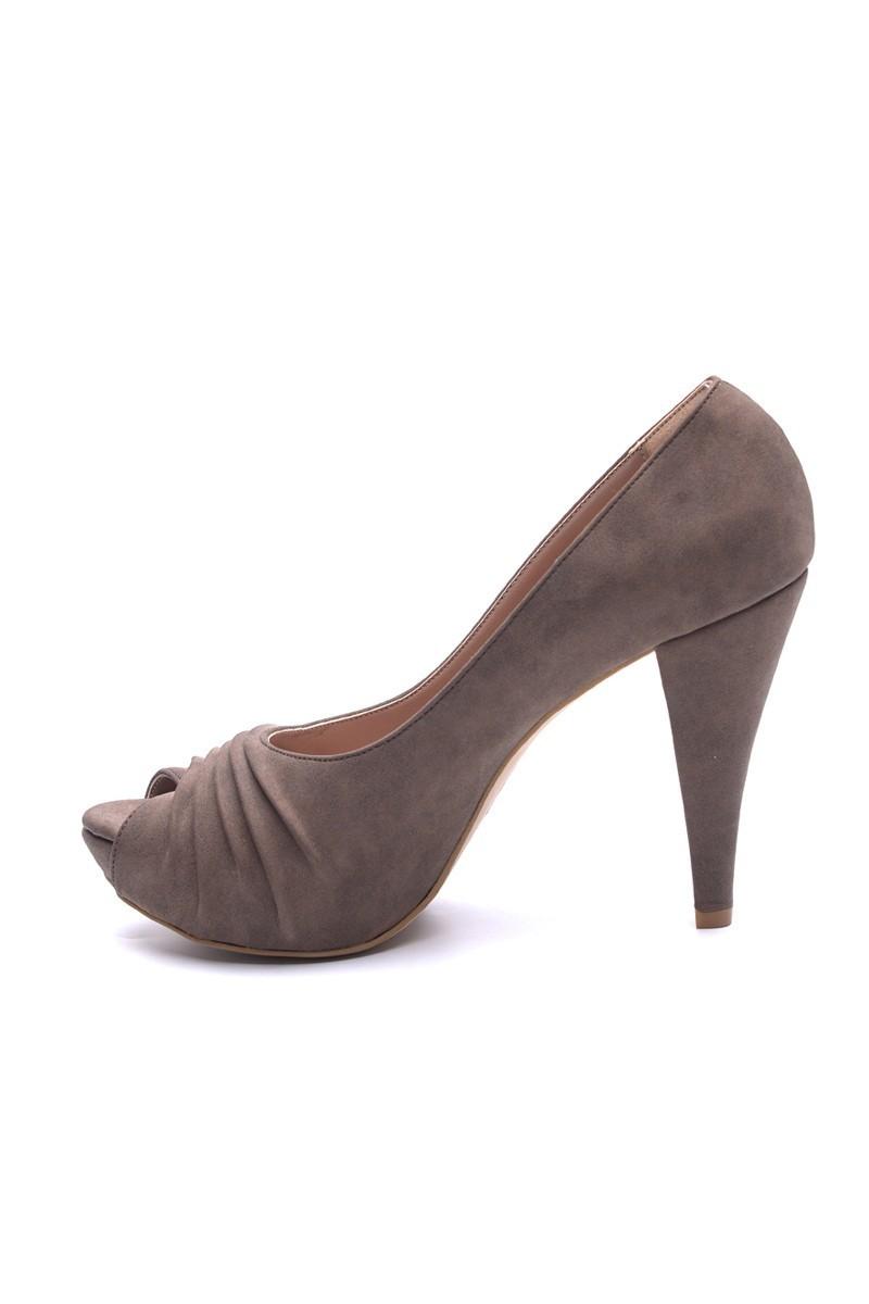 Matraş Kahverengi MT-1796 Deri Platform Topuk Bayan Ayakkabı