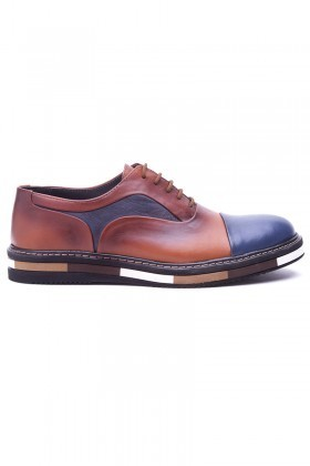 BLUESOIL Taba-Lacivert BS-20-36 Hakiki Deri Erkek Ayakkabı