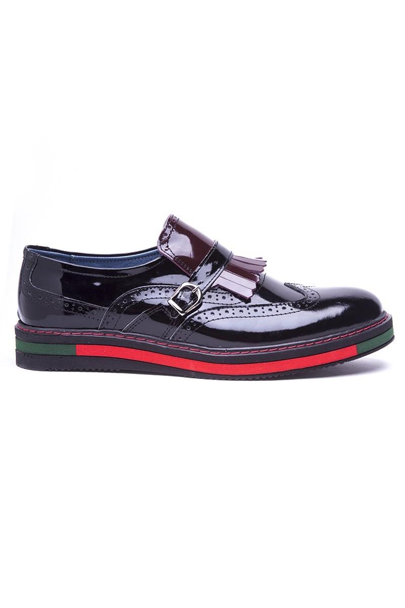 BLUESOIL Siyah-Bordo BS-20-34 Hakiki Deri Erkek Ayakkabı