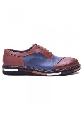 BLUESOIL Taba-Lacivert BS-20-27 Hakiki Deri Erkek Ayakkabı