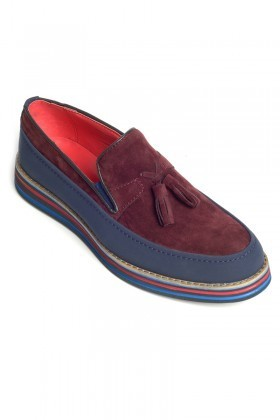 BLUESOIL Lacivert-Bordo BS-20-012-SUET Erkek Ayakkabı