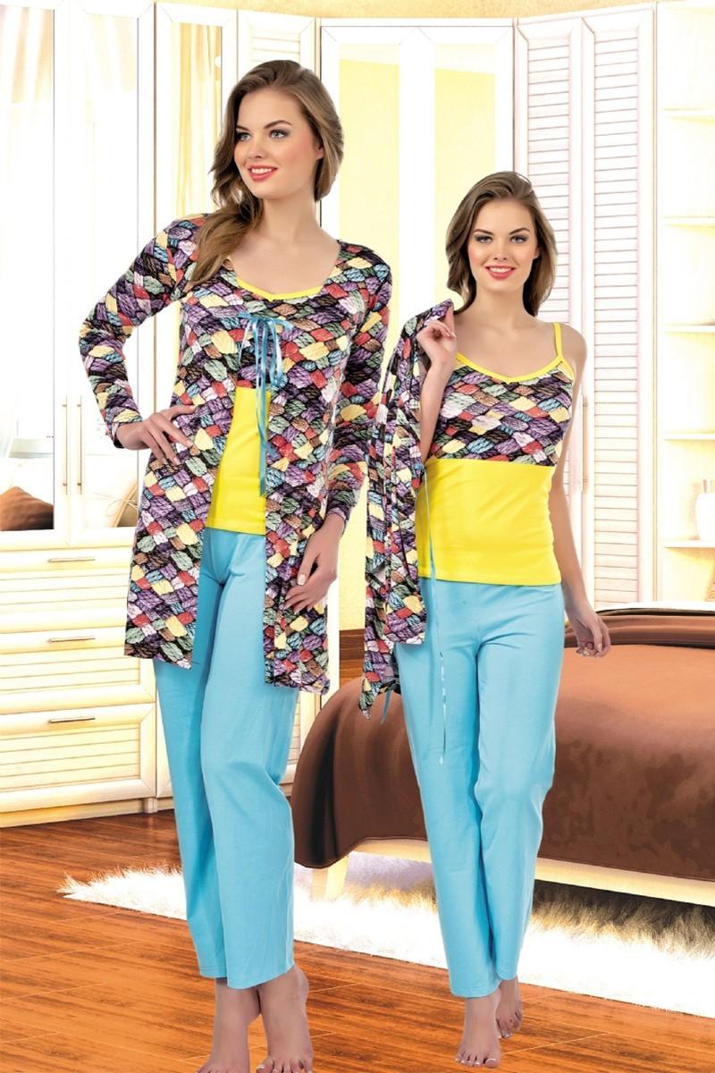 Polat Yıldız Karışık Renkli PY-3876 Bayan Pijama ve Sabahlık Takımı
