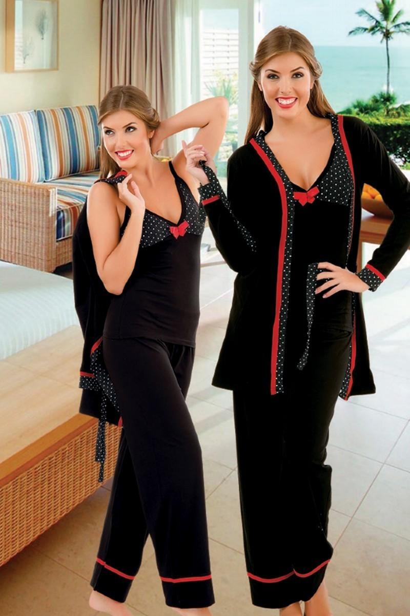 Polat Yıldız Siyah PY-3711 Bayan Pijama ve Sabahlık Takımı