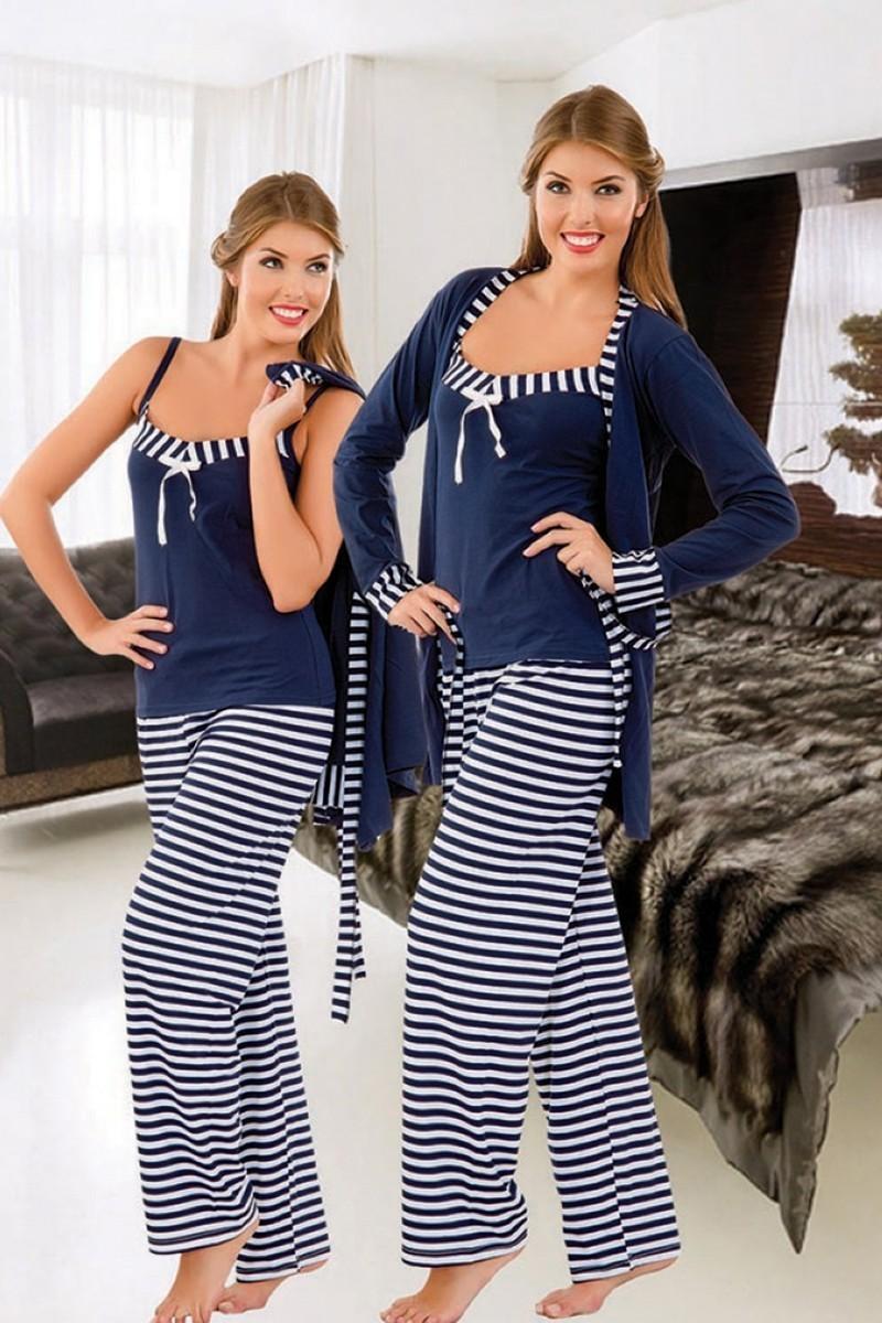 Polat Yıldız Lacivert PY-3709 Bayan Pijama ve Sabahlık Takımı