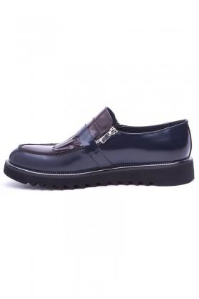 BLUESOIL Lacivert-Bordo WNT-2016 Hakiki Deri Erkek Ayakkabı