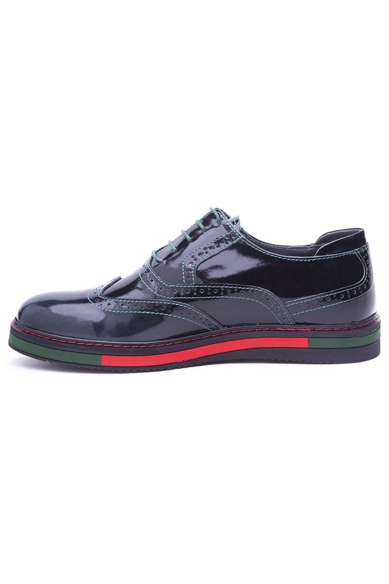 BLUESOIL Siyah-Yeşil BS-20-32-ACMA Hakiki Deri Erkek Ayakkabı
