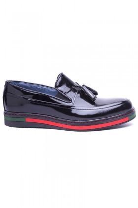 BLUESOIL Siyah BS-20-24-DESENLI Hakiki Deri Erkek Ayakkabı