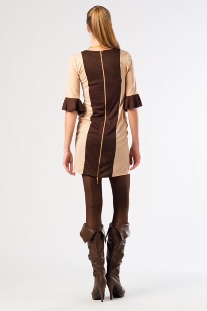 Yeni Elbisem Bej YE-12K008B Bayan Elbise