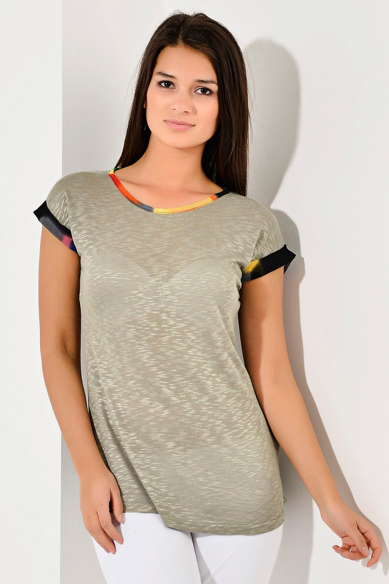 Yeni Elbisem Bej YEE-8179 Bayan Tişört
