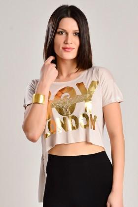 Yeni Elbisem Bej YEE-7263 Bayan Tişört