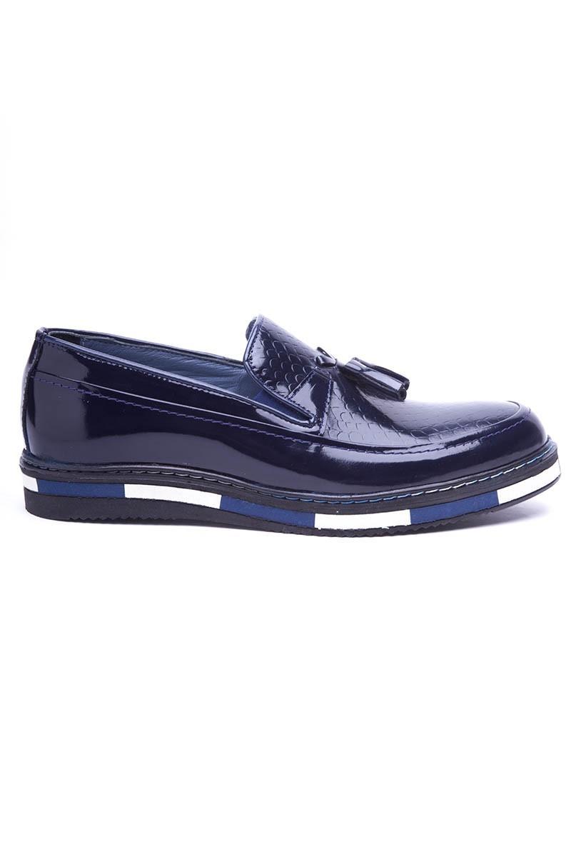 BLUESOIL Lacivert BS-20-24-DESENLI Hakiki Deri Erkek Ayakkabı