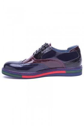 BLUESOIL Lacivert-Bordo BS-20-41 Hakiki Deri Erkek Ayakkabı
