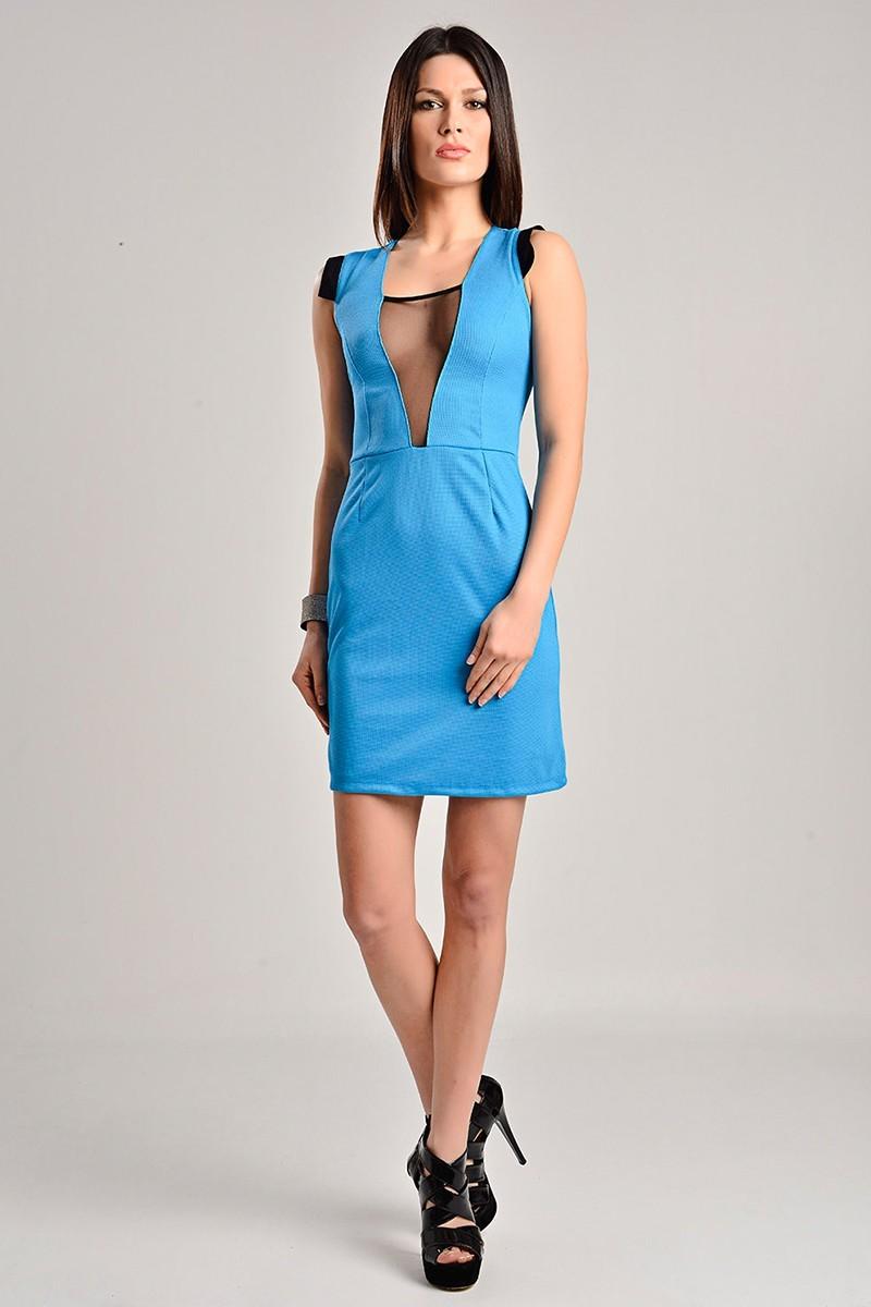 Yeni Elbisem Mavi YE-7233 Bayan Elbise