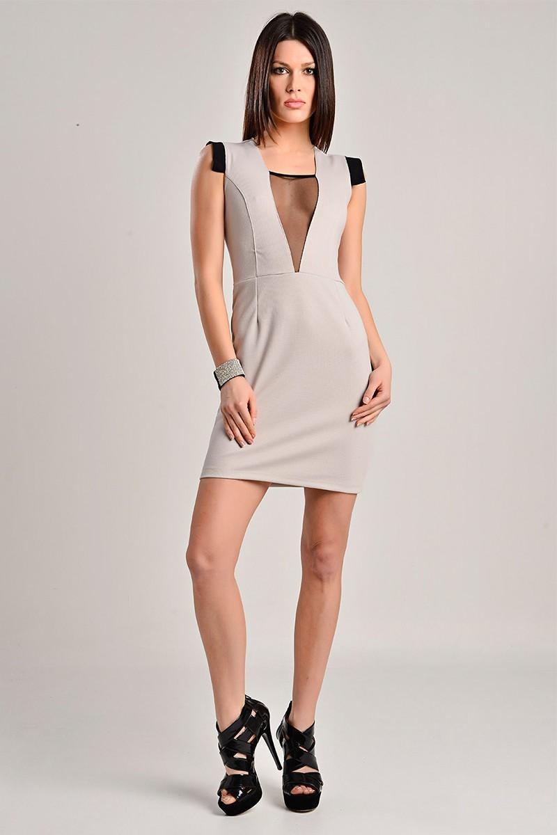 Yeni Elbisem Bej YE-7231 Bayan Elbise