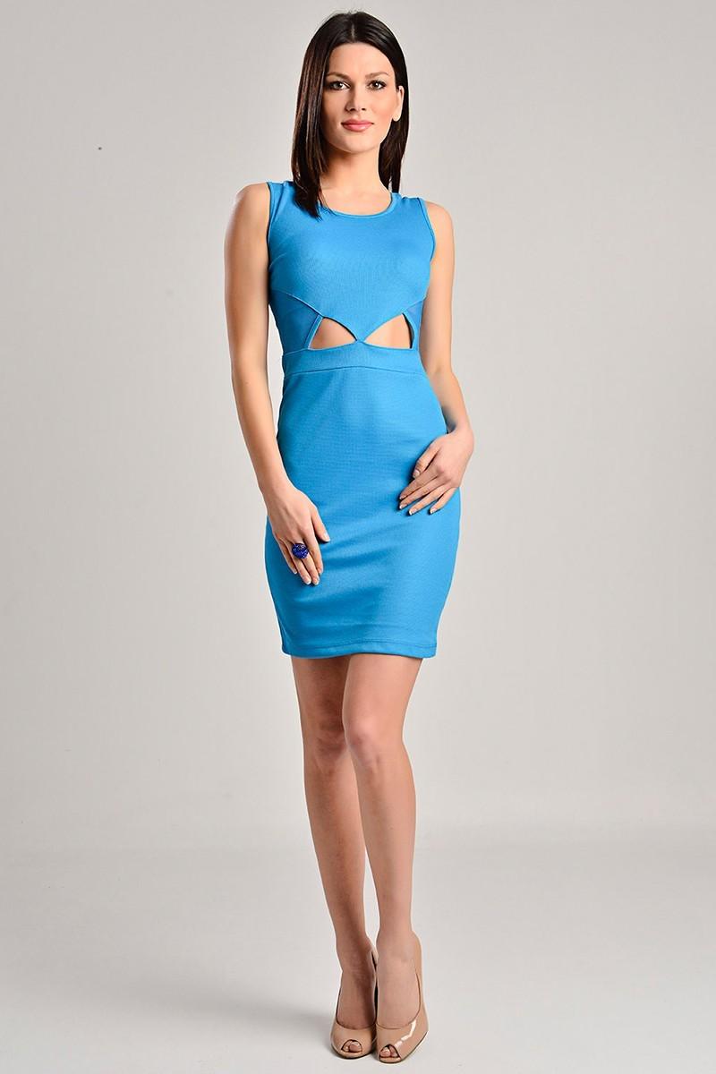Yeni Elbisem Mavi YE-7217 Bayan Elbise