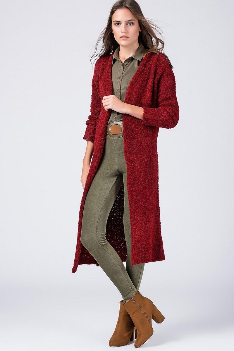 Yeni Elbisem Bordo Ü-9996 Bayan Hırka