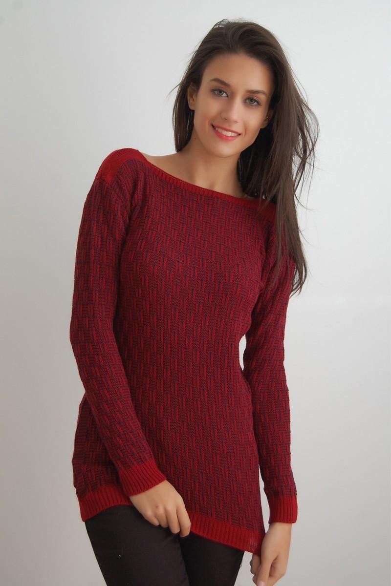 Yeni Elbisem Bordo Ü-9926 Bayan Kazak