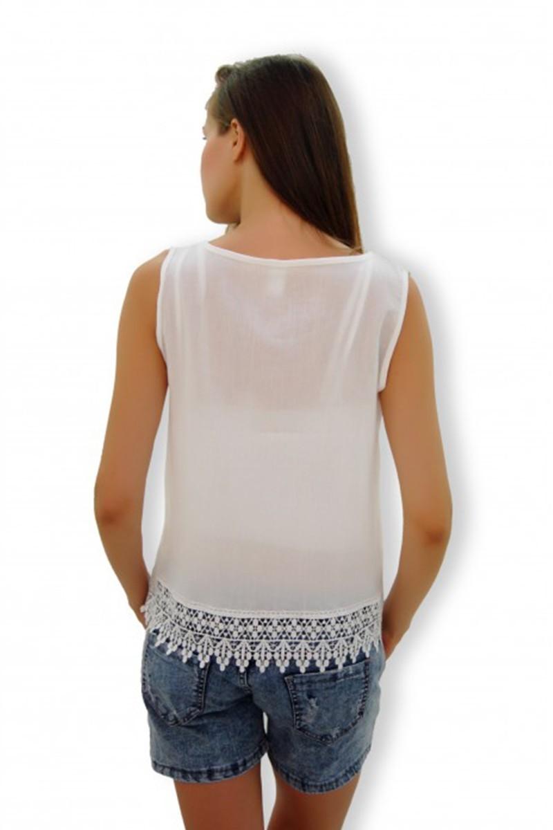 Yeni Elbisem Beyaz Ü-4111 Bayan Bluz