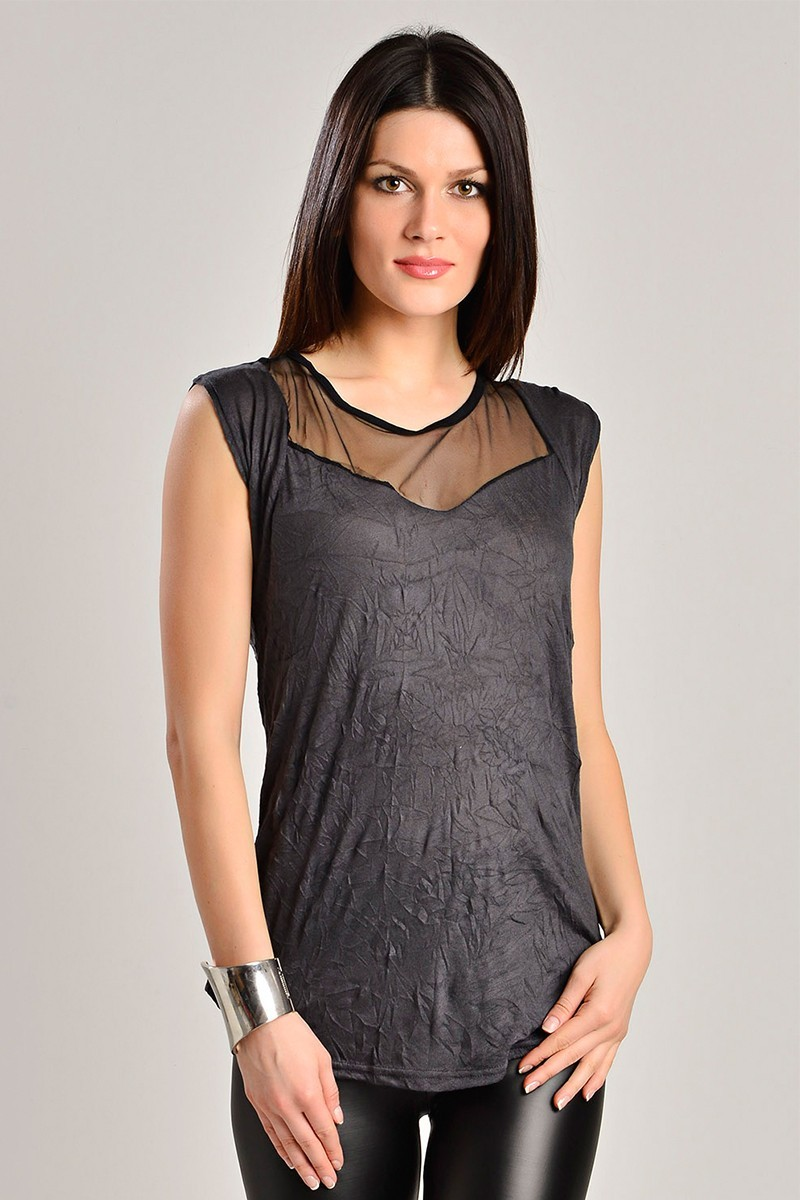 Yeni Elbisem Gri Ü-7266 Bayan Bluz