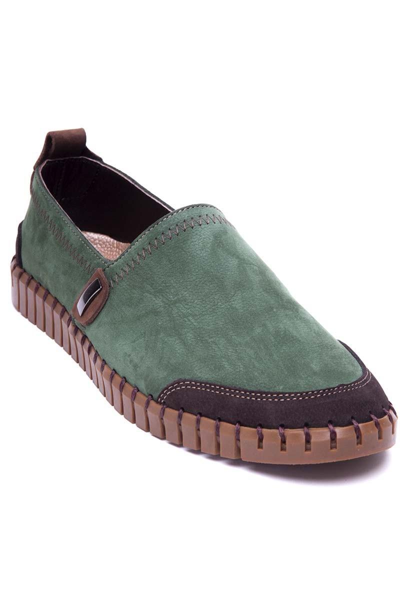 Pandew Yeşil-Kahverengi PNDW-2611-YESL-KAHVE Hakiki Deri Erkek Çarık