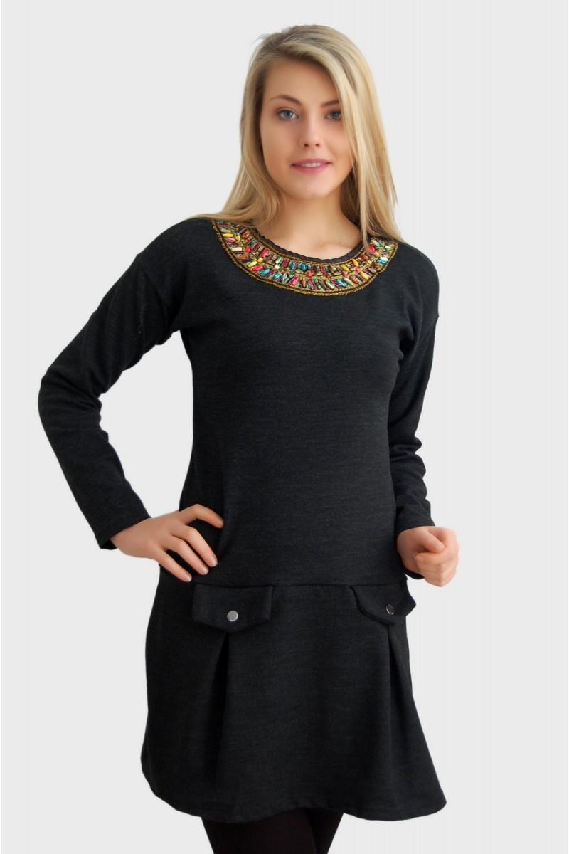 Yeni Elbisem Gri YEE-2510 Bayan Elbise
