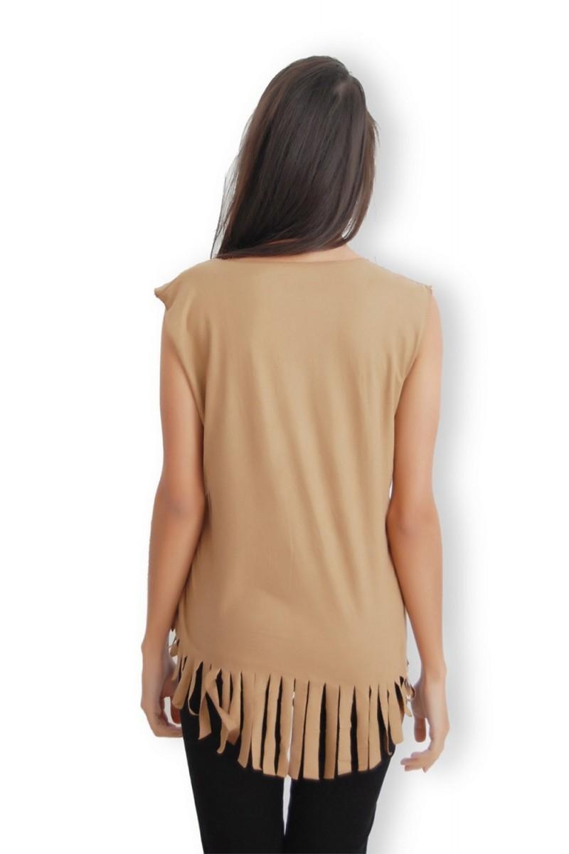 Yeni Elbisem Kahverengi YEE-1162 Bayan Bluz