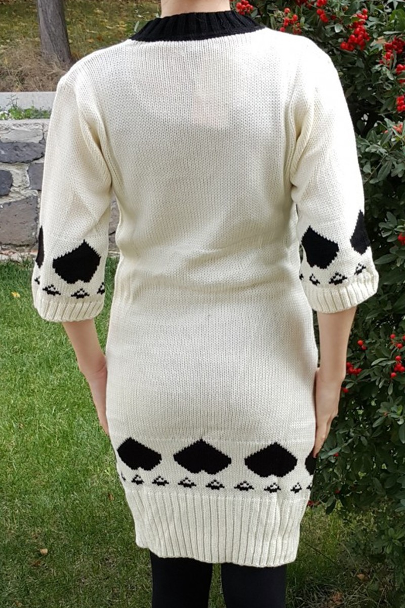Yeni Elbisem Krem YE-6762 Bayan Triko Elbise