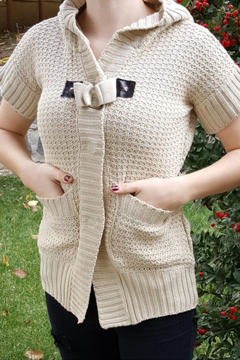 Yeni Elbisem Krem YE-6737 Bayan Hırka